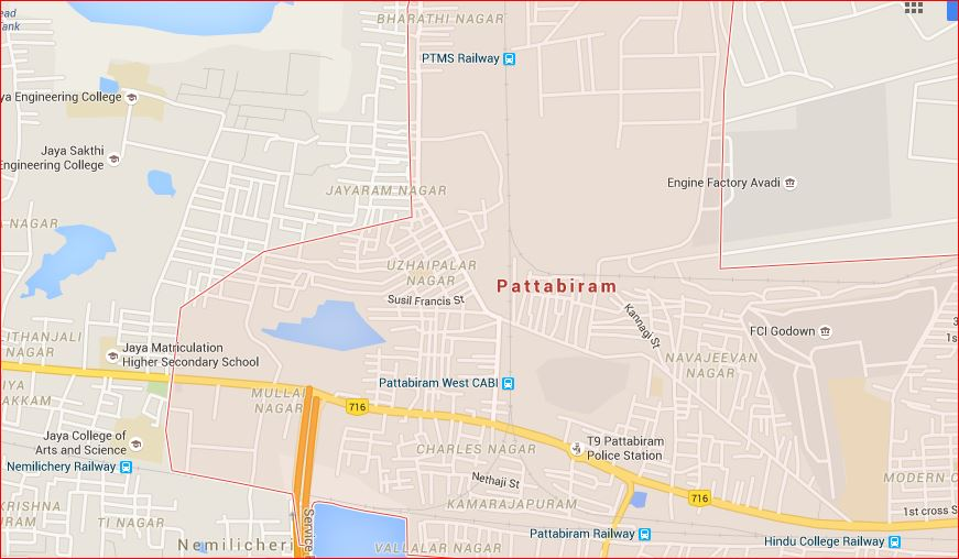 from chennai to arakkonam right to left you will pass hindu college pattabiram and nemilichery in succession note the turnoffs towards the north from
