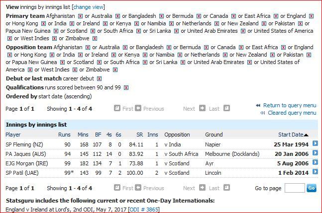 ODI 90 plus debut