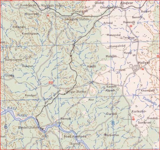 Alnavar Dandeli map 1955