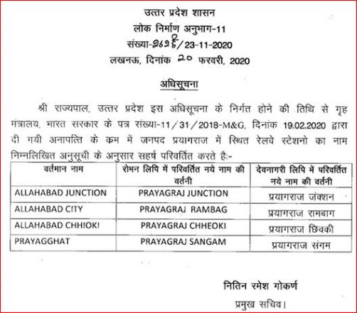 Allahabad railway name changes