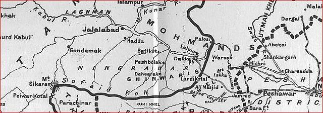 Peshawar map from Keppel's book